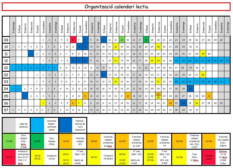 Organització calendari lectiu